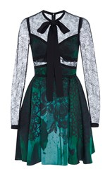 Elie Saab Jacquard Mini Dress With Lace Sleeves Green
