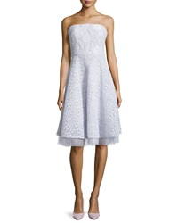 Badgley Mischka Mixed Lace Strapless Party Dress Silver