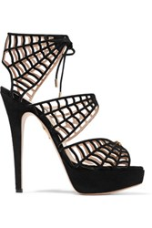 Charlotte Olympia Caught In Charlotte's Web Embellished Lace Up Suede Sandals Black
