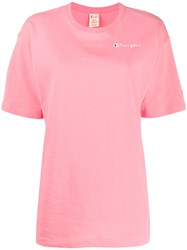 Champion Embroidered Logo T Shirt Pink