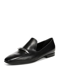 Via Spiga Tallis Flat Leather Loafers Black