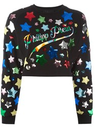 Philipp Plein Sequin Star Embroidered Sweatshirt Black