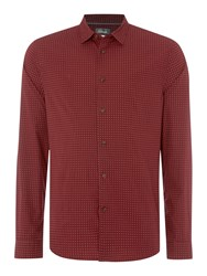 Linea Men's Doyle Long Sleeve Geo Print Shirt Burgundy