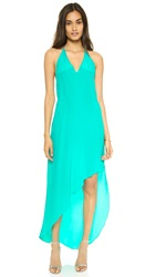 Haute Hippie Deep V Neck Halter Dress Aqua