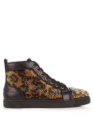 Christian Louboutin Louis High Top Spike Embellished Leather Trainers Black Multi