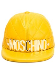 Moschino Quilted Cap Yellow And Orange