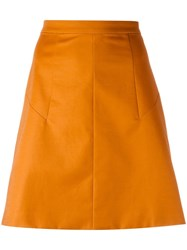 Andrea Marques A Line Skirt Women Cotton Spandex Elastane 38 Yellow Orange