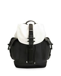 Obsedia Leather Flap Backpack Black White Givenchy