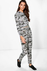 Boohoo Camo Hooded Crop And Jogger Lounge Set Nude