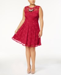 Love Squared Trendy Plus Size Lace Fit And Flare Dress Sangria