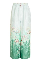 Topshop Blossom Print Trousers Turquoise