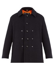 Lanvin Single Breasted Wool And Mohair Blend Pea Coat Navy