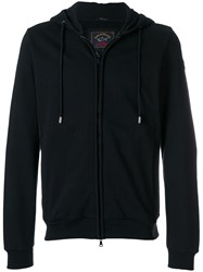 Paul And Shark Zipped Hooded Sweater Cotton Black