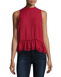 Romeo And Juliet Couture Chiffon Ruffle Hem Tank Top Burgundy