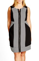 City Chic Plus Size Women's 'Lunch Date' Sleeveless Colorblock Zip Front Dress
