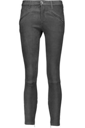 Current Elliott Mid Rise Stretch Suede Skinny Jeans Dark Gray
