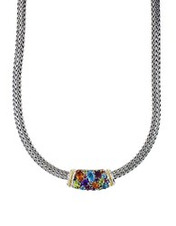 Effy Semi Precious Multi Stone Sterling Silver And 18K Yellow Gold Barrel Pendant Necklace
