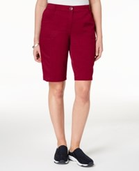 Karen Scott Mid Rise Cotton Shorts Created For Macy's New Red Amore