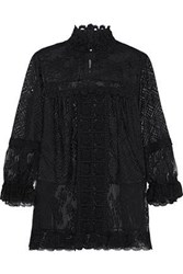Anna Sui Flocked Tulle Paneled Guipure Lace Trimmed Crocheted Blouse Black