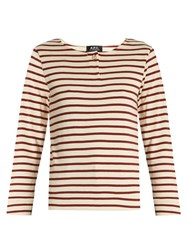 A.P.C. Veronica Breton Striped Cotton Top Red Multi