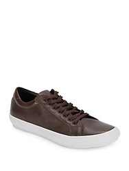 Massimo Matteo Low Top Textured Leather Sneakers Cafe