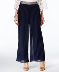 Alfani Metallic Trim Pleated Palazzo Pants Only At Macy's Modern Navy