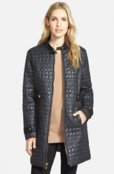 Women's Via Spiga Faux Leather Trim Stand Collar Quilted Coat Black