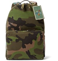 Valentino Camouflage Print Canvas Backpack Green