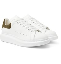 Alexander Mcqueen Exaggerated Sole Suede Trimmed Leather Sneakers White