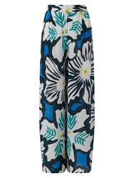 East Dara Print Palazzo Trousers Kingfisher