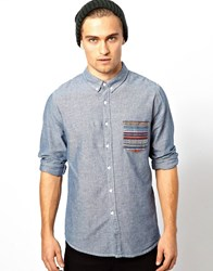 Another Influence Shirt With Aztec Pocket Ls Blue Grey