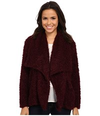 Bobeau Fuzzy Jacket Burgundy Women's Coat