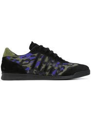 Dsquared2 Leopard Print Sneakers Men Leather Suede Polyamide Rubber 43 Black
