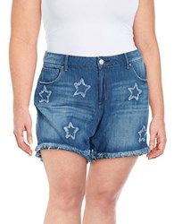 Jessica Simpson Plus Distressed Star Denim Shorts Blue