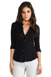 James Perse Slub 3 4 Sleeve Button Front Shirt Black
