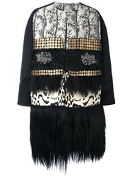 Antonio Marras Oversize Fur Trim Coat Black