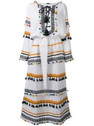 Dodo Bar Or Pom Pom Fringe Maxi Dress White