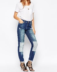 Noisy May Kim Loose Jeans With Patches 32 Leg Mediumbluedenim
