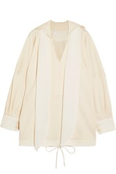 Chloe Oversized Silk Trimmed Cotton Jersey Top Cream