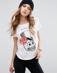 Cheap Monday Floral Skull Logo T Shirt White