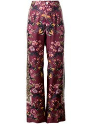 F.R.S For Restless Sleepers Floral Printed Palazzo Trousers Women Silk L Pink Purple