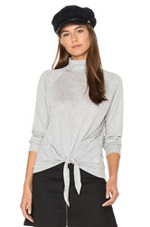 Lanston Front Tie Turtleneck Top Gray