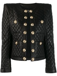 Balmain Quilted Leather Jacket Black