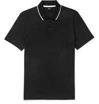 Hugo Boss Contrast Tipped Cotton Jersey Polo Shirt Black