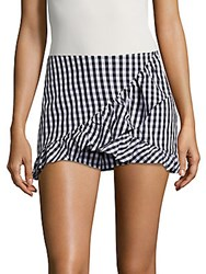 Saks Fifth Avenue Red Gingham Ruffled Skort Black White