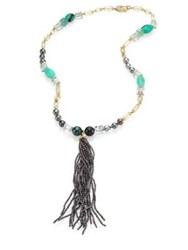 Jordan Alexander 2Mm Grey Pearl Diamond Chrysoprase Prasiolite Emerald And 18K Yellow Gold Tassel Necklace Gold Multi