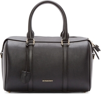 Burberry Black Leather Large Duffle Bag