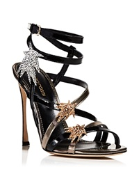 Sergio Rossi Open Toe Evening Sandals Icarus Star High Heel Black Gold