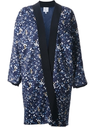 C Faconnable Flower Printed Kimono Inspired Coat Blue