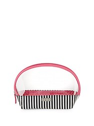 Saks Fifth Avenue Half Moon Clear And Striped Cosmetic Bag No Color